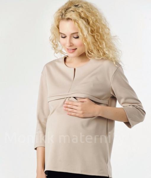 Пудровая бежевая блуза для беременных и кормящих мам Кэтрин