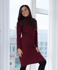 Бордовое платье для беременных и кормящих мам