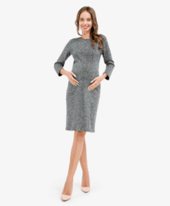 Серое платье для беременных и кормящих мам Femine -3