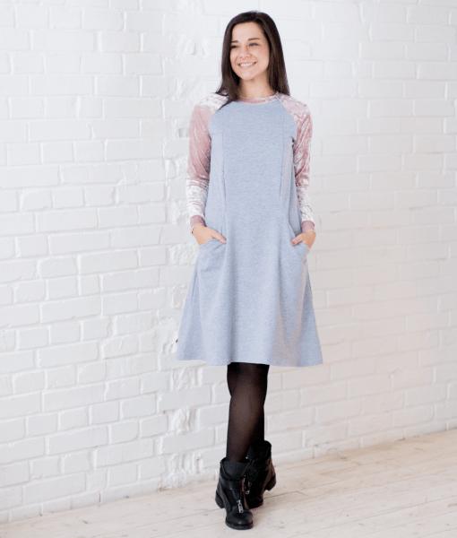 Платье с бархатными рукавами для будущих и кормящих мам Triky - 3