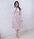 Пудровое бархатное платье для будущих и кормящих мам Angel — 1