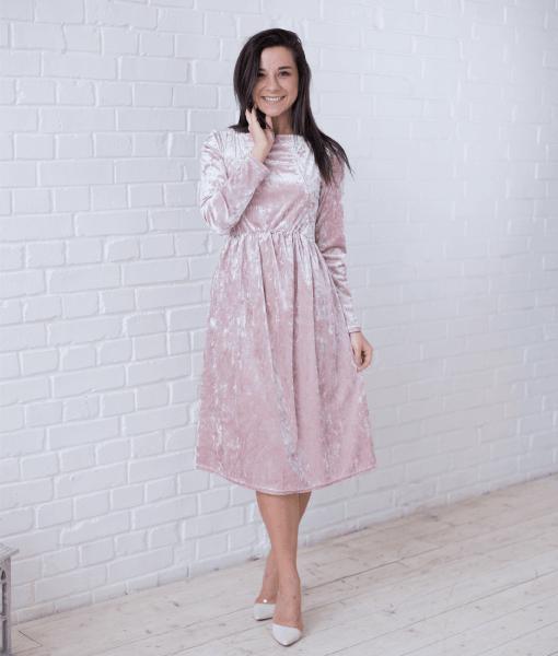 Пудровое бархатное платье для будущих и кормящих мам Angel - 1