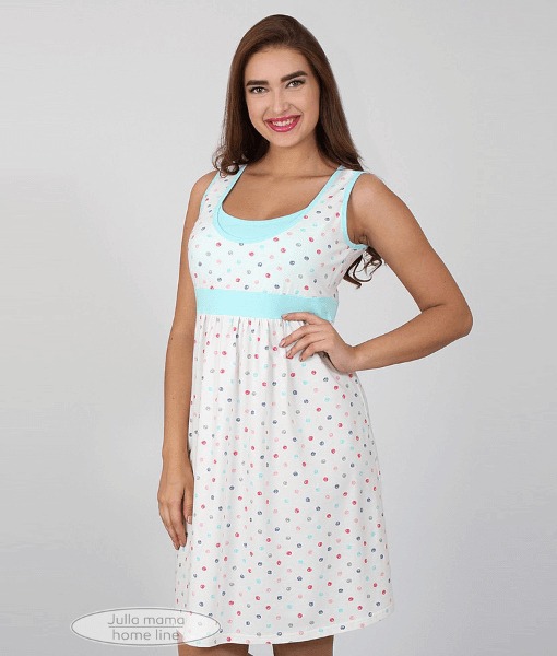 Белая сорочка в горошек для беременных и кормящих мам Sela - 4