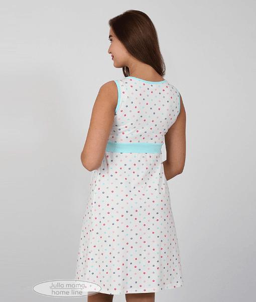 Белая сорочка в горошек для беременных и кормящих мам Sela - 5