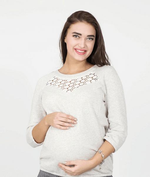 Бежевый свитшот для беременных и кормящих мам Angela - 1