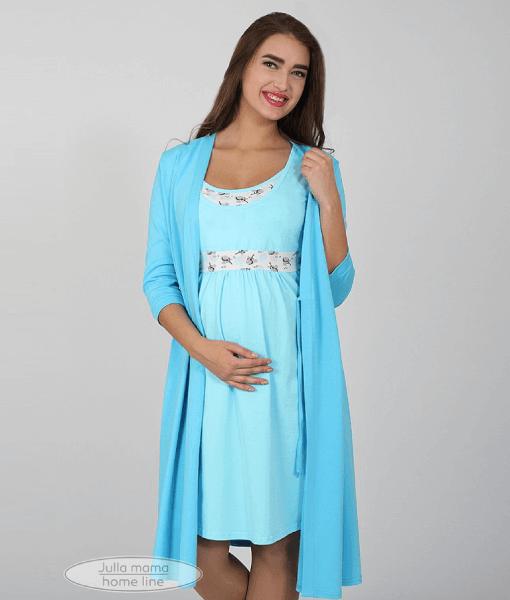 Голубая сорочная для беременных и кормящих мам Sela - 6