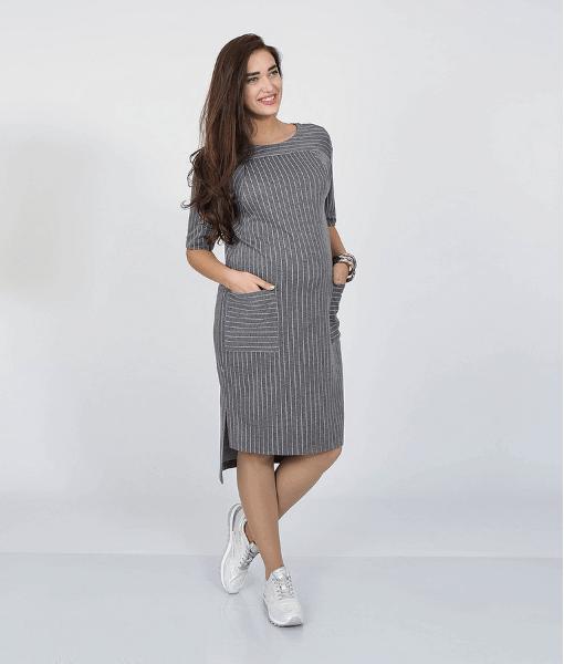 Серое платье для беременных и кормящих мам Flo - 1
