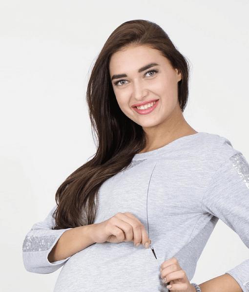 Серый свитшот для беременных и кормящих мам Gigi bright - 2
