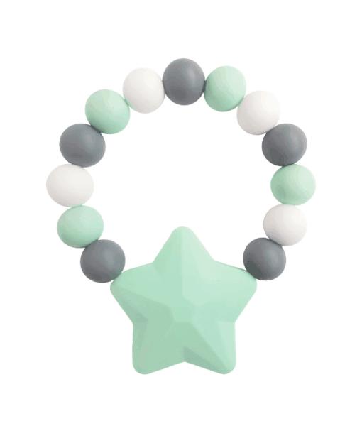 Силиконовый браслет-прорезыватель Звездочка серо-зеленый