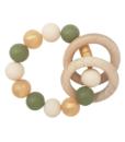 Силиконовый браслет-прорезыватель с деревянным грызунком оливково-золотистый - 1
