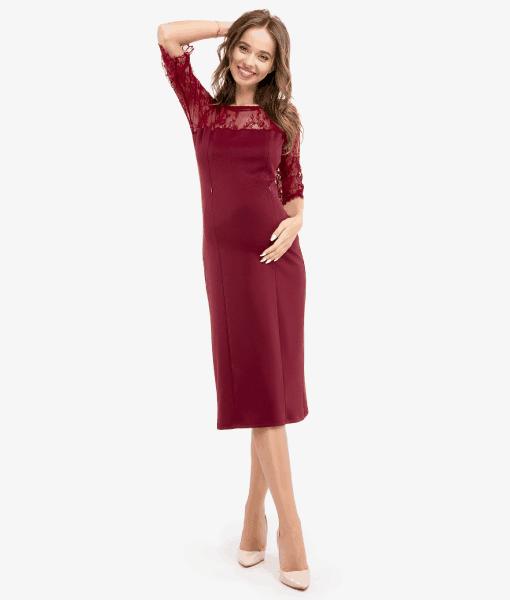 Вишневое платье для беременных и кормящих мам Rouge -3