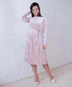 Пудровое бархатное платье для будущих и кормящих мам Angel - 2