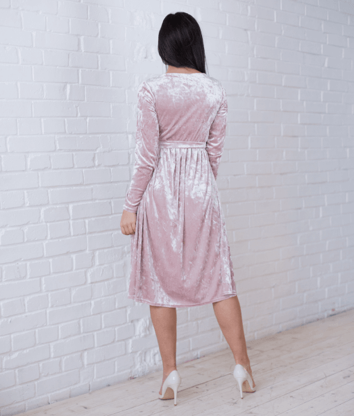 Пудровое бархатное платье для будущих и кормящих мам Angel - 4