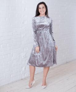 Серое бархатное платье для будущих и кормящих мам Angel - 3