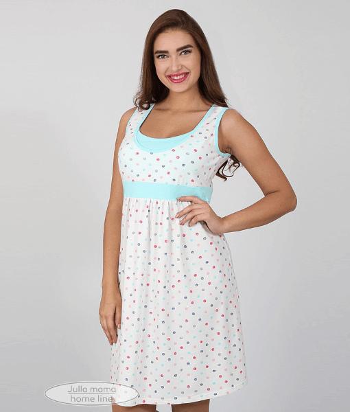 Белая сорочка для беременных и кормящих мам Selavi в горошек
