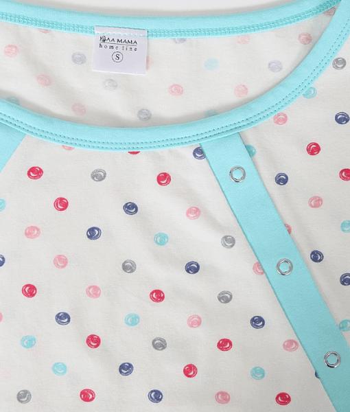 Мятная пижама для будущих и кормящих мам Relax в горошек