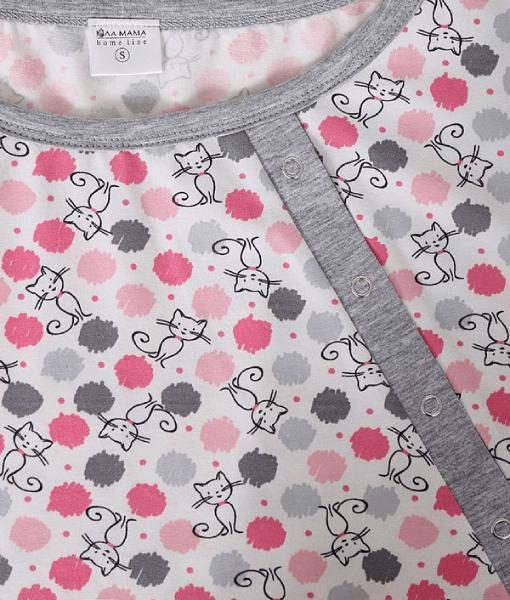 Розовая пижама для беременных и кормящих мам Relax -4