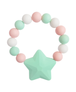 Силиконовый браслет-прорезыватель Звездочка розово-зеленый