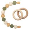Силиконовый браслет-прорезыватель с деревянным грызунком оливково-золотистый — 2