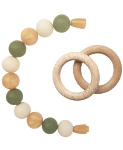 Силиконовый браслет-прорезыватель с деревянным грызунком оливково-золотистый - 2