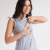 Серые шорты с персиковым кружевом для беременных и кормящих мам Sweet Mommy