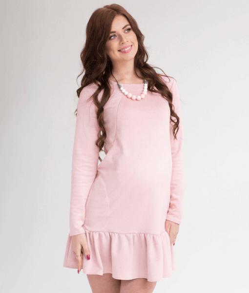 Пудровое замшевое платье для беременных и кормящих Ketty