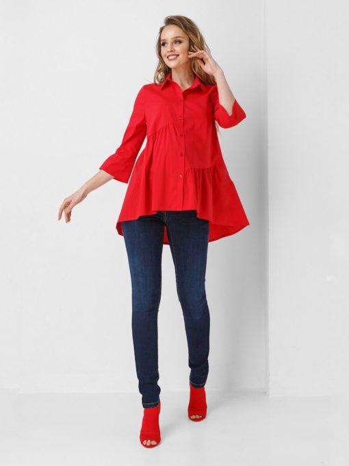 Красная рубашка для беременных и кормящих Selestina