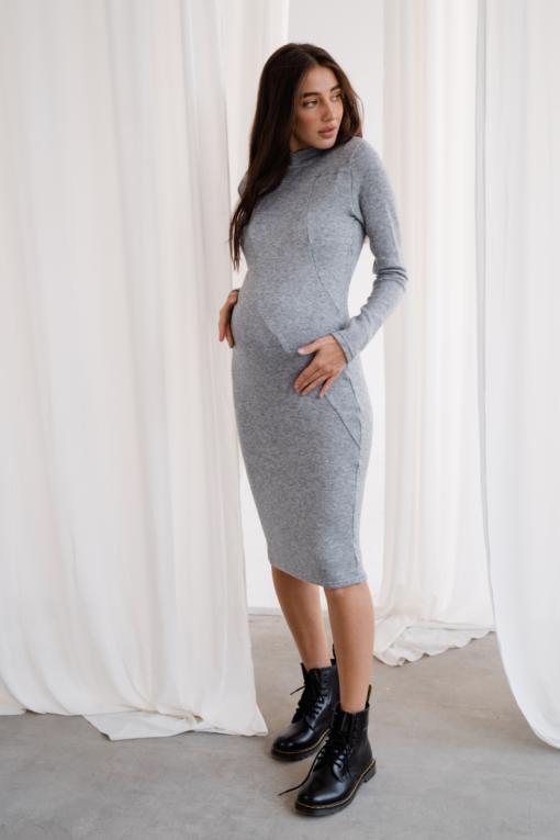 Серое теплое платье для беременных Stella