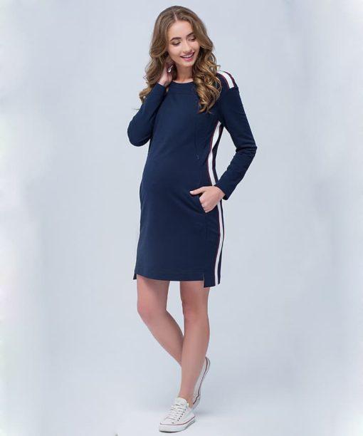 Темно-синее платье c лампасами для будущих и кормящих мам Danielle