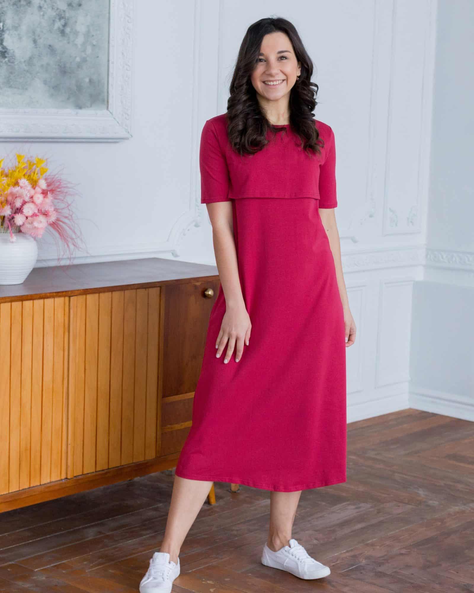 Бордовое платье-футболка для будущих и кормящих мам Casual