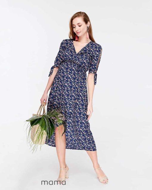 Синее платье для будущих и кормящих мам Sharlen