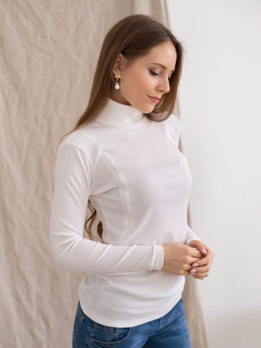 Белая водолазка для беременных и кормящих мам Tilda