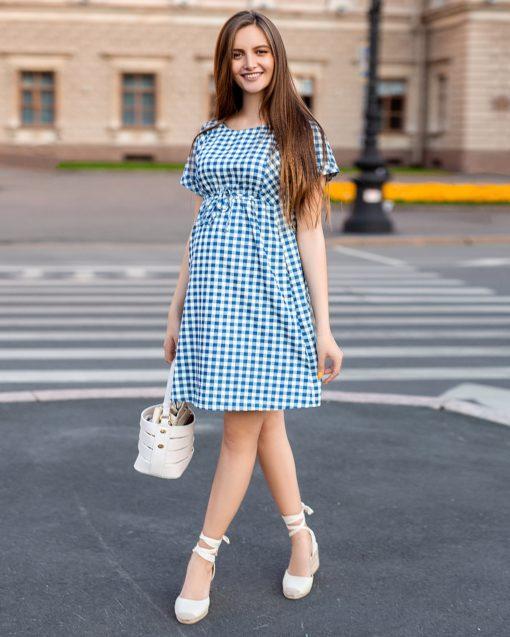 Голубое платье в клетку для будущих и кормящих мам Sherry