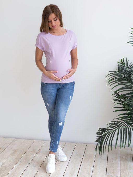 Лавандовая футболка для будущих и кормящих мам Every