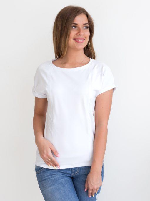 Белая футболка для будущих и кормящих мам Every