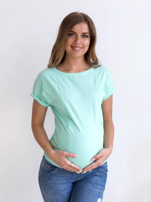 Мятная футболка для будущих и кормящих мам Every