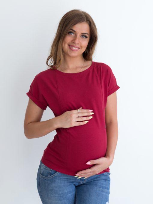Бордовая футболка для будущих и кормящих мам Every