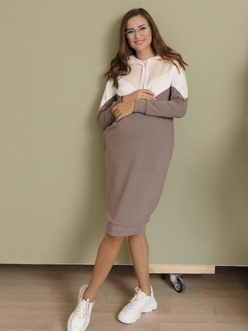 Кофейное платье для беременных и кормящих мам Lisette