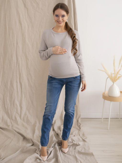 Серый джемпер для будущих и кормящих мам Charlie