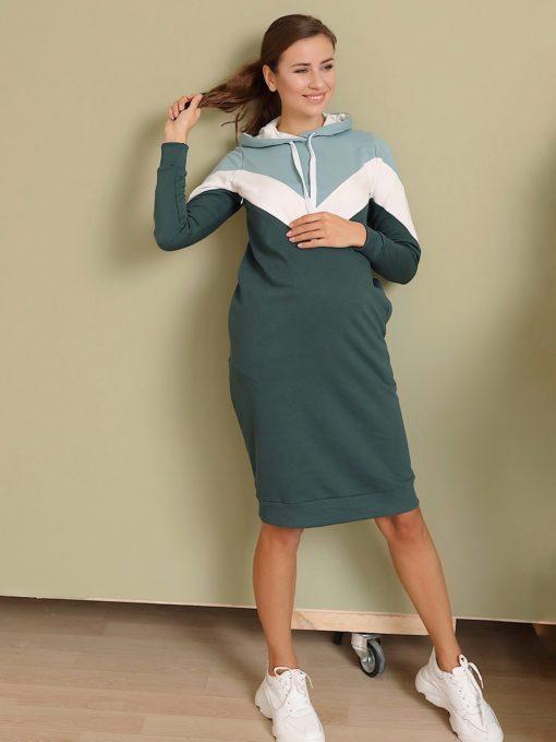 Изумрудное платье для беременных и кормящих мам Lisette