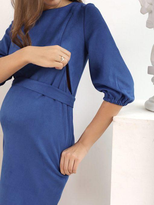 Синее замшевое платье для беременных и кормящих Oktavia