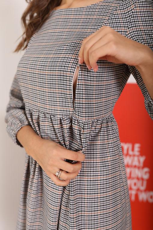 Платье в клетку для беременных и кормящих мам Gladis