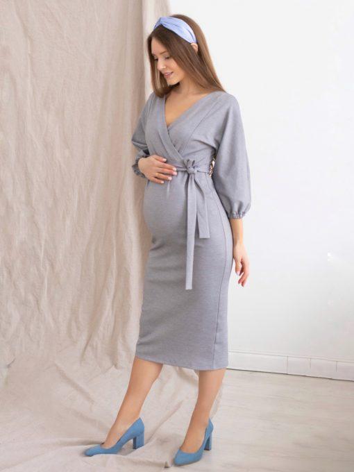 Серое платье для будущих и кормящих мам Megan