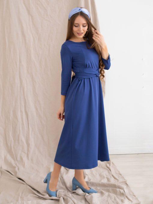 Васильковое платье для будущих и кормящих мам Belle
