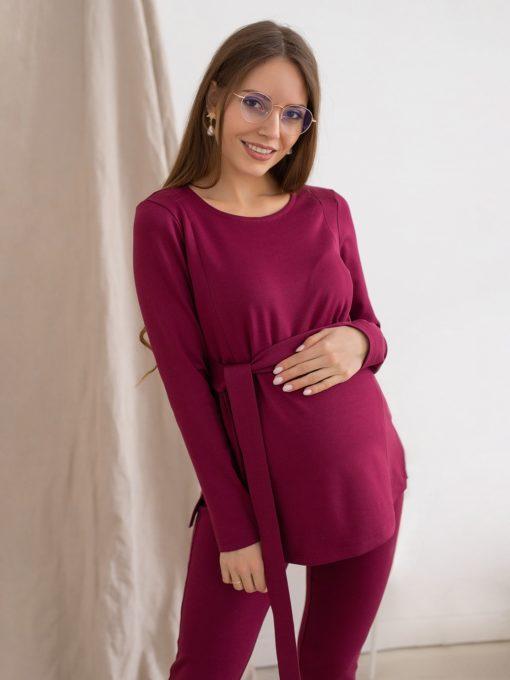 Вишневый костюм для беременных и кормящих мам Estel