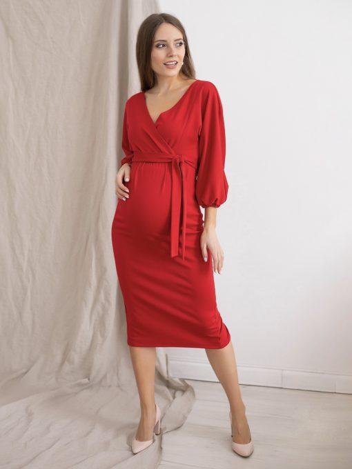 Красное платье для будущих и кормящих мам Megan