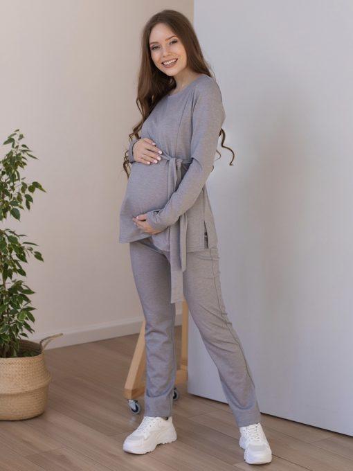 Серый костюм для беременных и кормящих мам Estel
