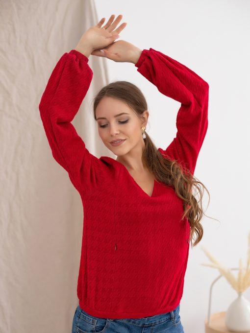 Красный джемпер для будущих и кормящих мам Molly
