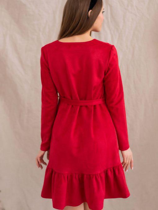 Клубничное замшевое платье для беременных и кормящих Ketty
