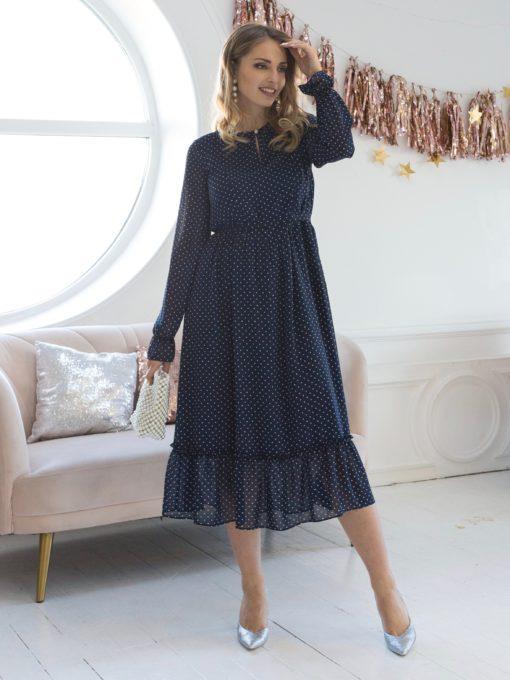 Темно-синее платье в горошек для будущих и кормящих мам Valencia